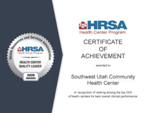 HRSA Certificate of Achievement - Top 20 percent overall clinical performance