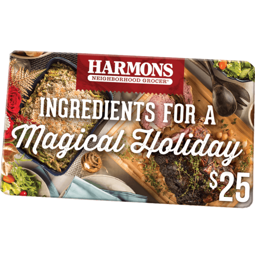 harmons $25 gift card - ingredients for a magical holiday