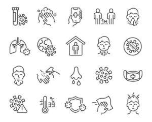 flu and coronavirus icon set