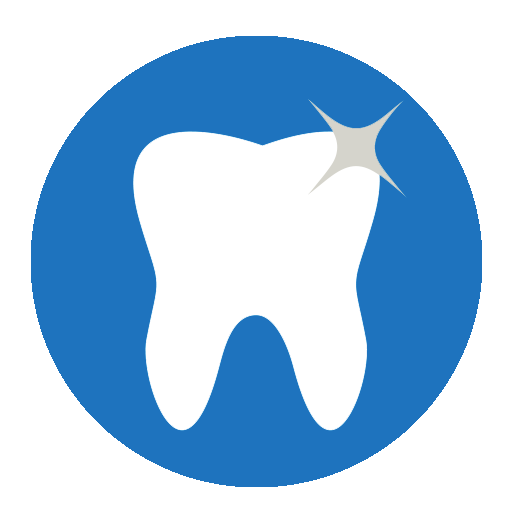 illustration of a white sparkling tooth on a circular blue background