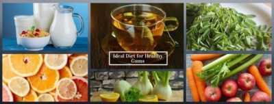 collage of food items that are good for your gum health